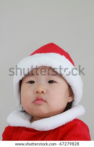 28c53a08def Very Beautiful Asian Baby Girl Toddler in White and Red Santa Claus Outfit  with Cap Getting