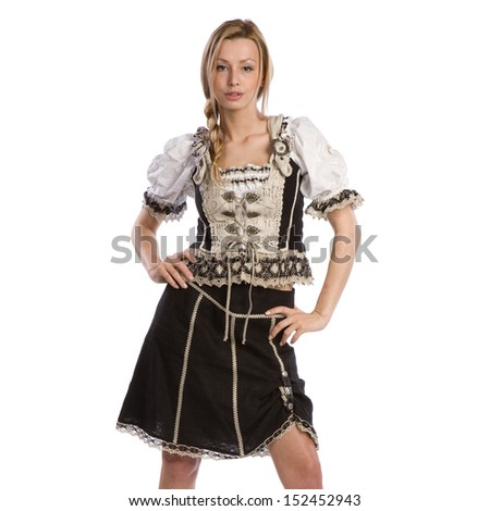 very beautiful caucasian white woman in traditional tiroler oktoberfest costume or outfit - stock photo