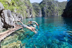 Very beautiful lake Kayangan in the islands,Coron, Palawan  Philippines