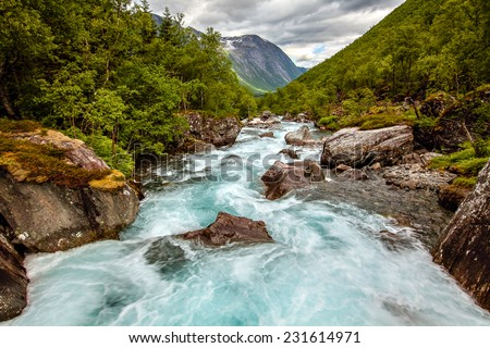 Very beautiful powerful waterfall in Norway with the effect of flowing water