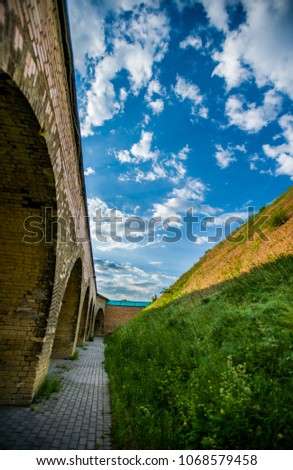 very beautiful sky and a wall #1068579458