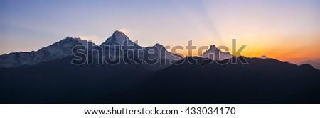 Very beautiful surise in Himalaya mountains panorama, Nepal #433034170