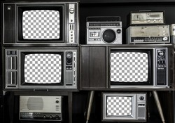 very beautiful vintage television stack arranged  dicut monitor for montage with clipping path