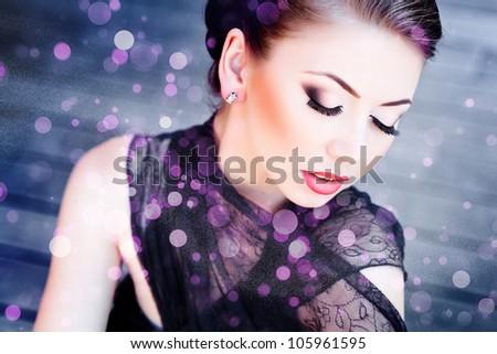 very beautiful woman wearing make-up