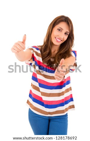 Very beautiful young woman signaling ok, isolated over white