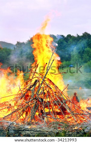 very big burning bonfire in the Carpathian Mountains