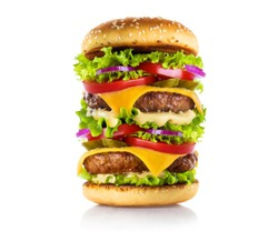 Very big delicious burger, isolated on white background