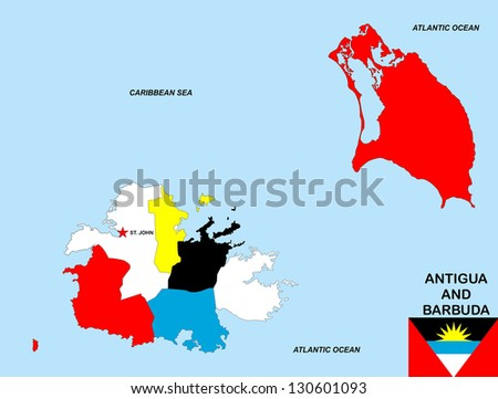 very big size antigua and barbuda political map with flag