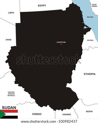 very big size black map of sudan with flag