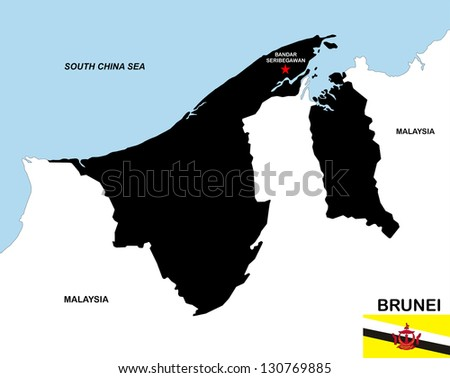 very big size brunei black map with flag - stock photo