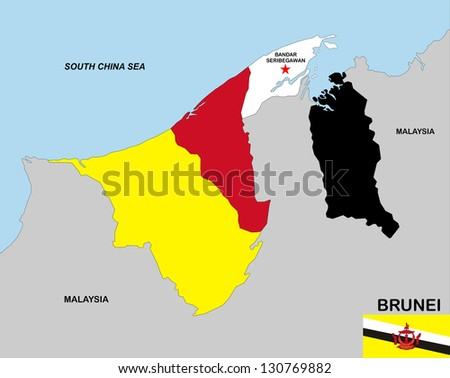 very big size brunei political map with flag