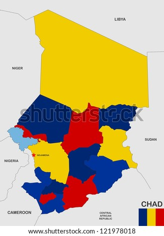 very big size chad political map with flag - stock photo