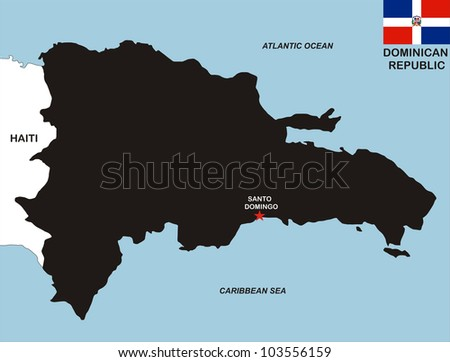 very big size dominican republic black map with flag