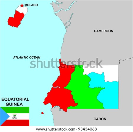 very big size equatorial guinea political map illustration