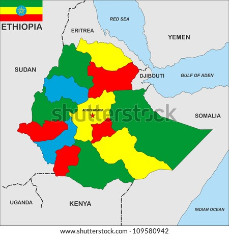 very big size ethiopia country political map