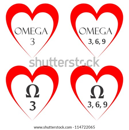 very big size four omega heart symbols