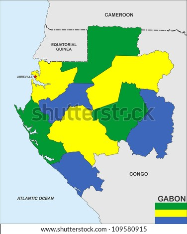 very big size gabon country political map