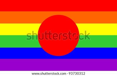 very big size gay proud flag illustration japan - stock photo