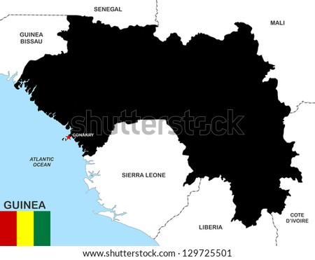 very big size guinea black map with flag