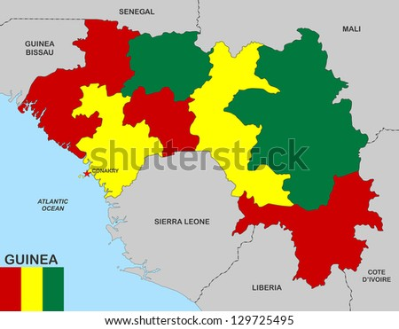 very big size guinea political map with flag