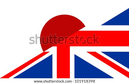 very big size half united kingdom half japan flag