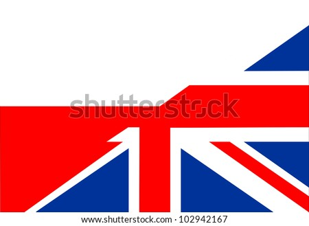 very big size half united kingdom half poland flag