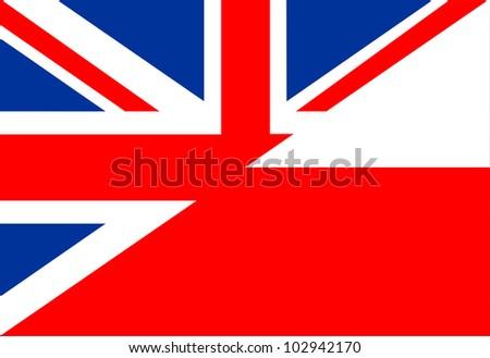 very big size half united kingdom half poland flag