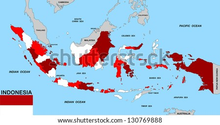 very big size indonesia political map with flag