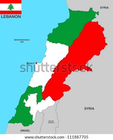 very big size lebanon political map illustration
