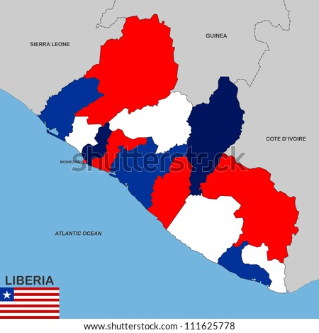 very big size liberia political map illustration