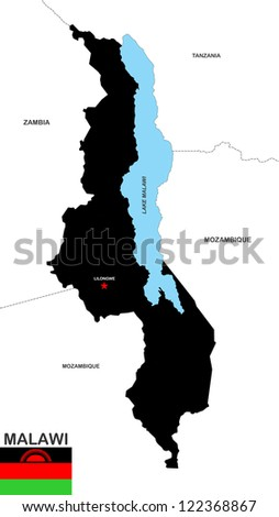 very big size malawi black map with flag