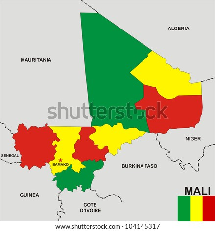 very big size mali political map with flag