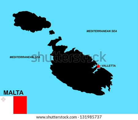 very big size malta black map with flag