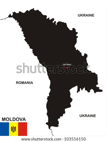 very big size moldova black map with flag