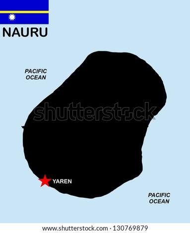very big size nauru black map with flag