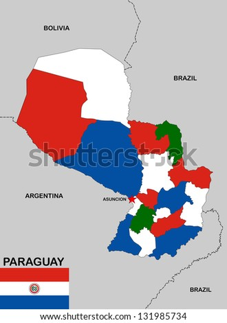 very big size paraguay political map with flag