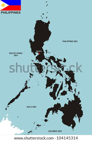 very big size philippines black map with flag