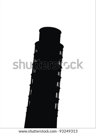 very big size pisa tower black silhouette illustration - stock photo