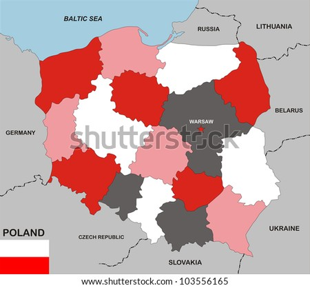 very big size poland political map with flag