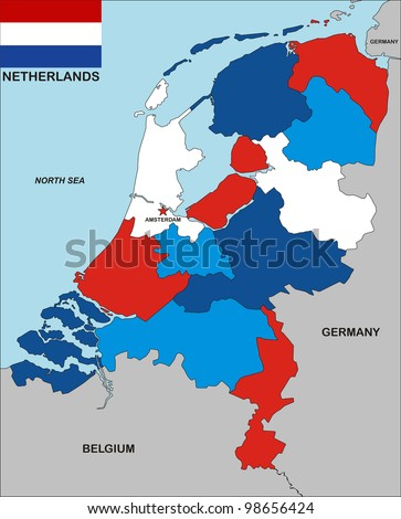 very big size political map of netherlands with flag