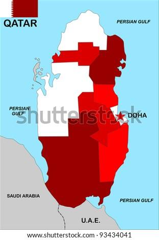 very big size qatar political map illustration