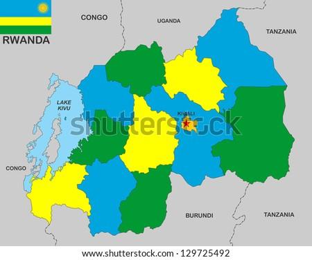 very big size rwanda political map with flag