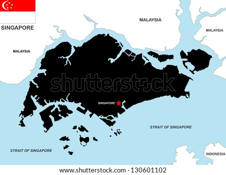 very big size singapore black map with flag