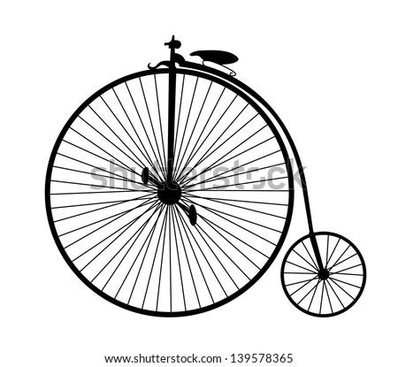 very big size vintage bicycle black silhouette