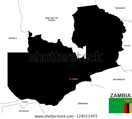 very big size zambia black map with flag