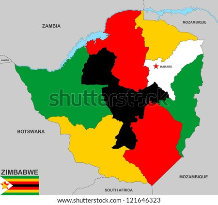 very big size zimbabwe political map with flag