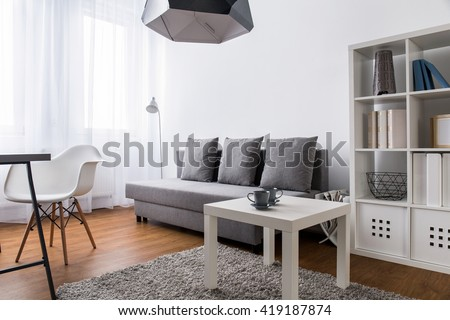 Very bright room in a modern apartment, with grey sofa, large, white rack and a white coffee table standing on a beige fluffy carpet