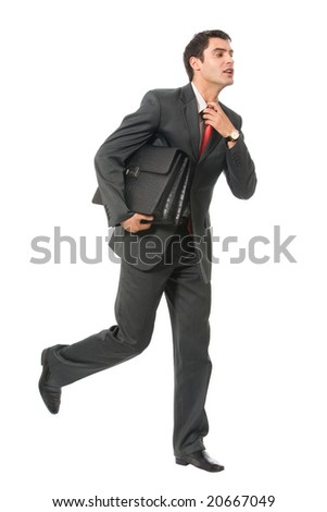 Very busy businessman with briefcase running to important meeting, isolated