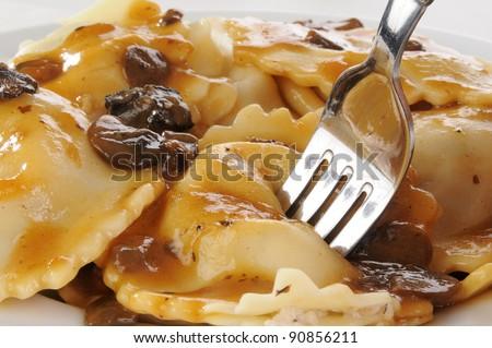 Very closeup shot of gourmet chicken and mushroom ravioli - stock photo