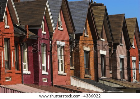 Very colorful row houses that were built in the early 1900's